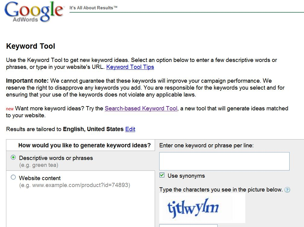 AdWords main screen